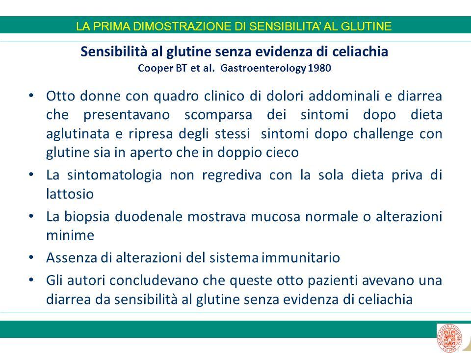 Sensibilità al glutine senza evidenza di celiachia Cooper BT et al