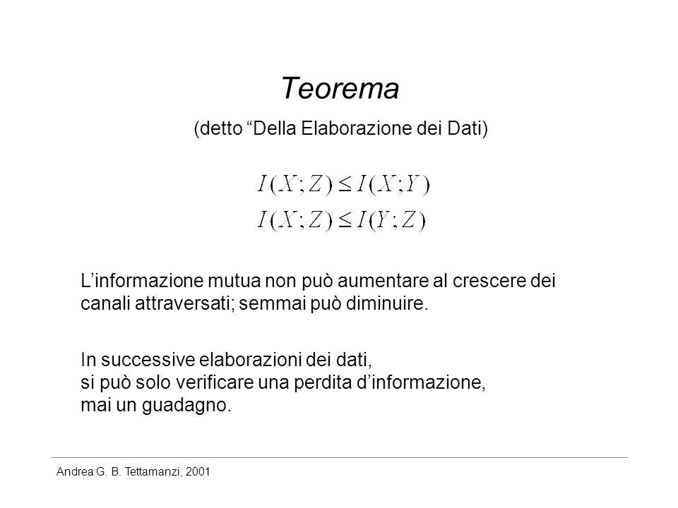 Teorema (detto Della Elaborazione dei Dati)