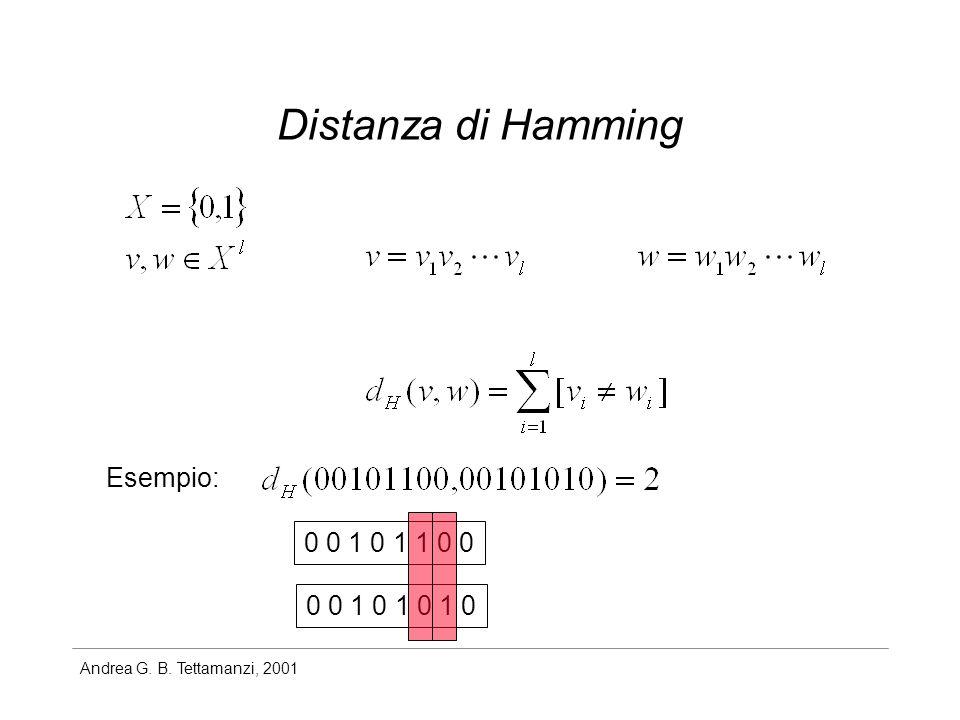 Distanza di Hamming Esempio: 0 0 1 0 1 1 0 0 0 0 1 0 1 0 1 0