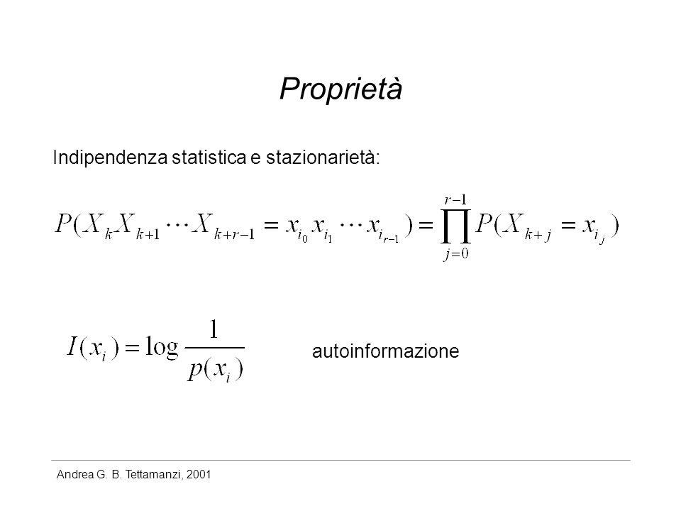 Proprietà Indipendenza statistica e stazionarietà: autoinformazione