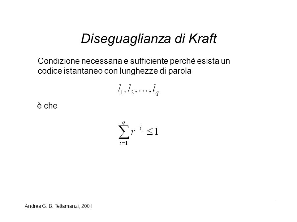 Diseguaglianza di Kraft