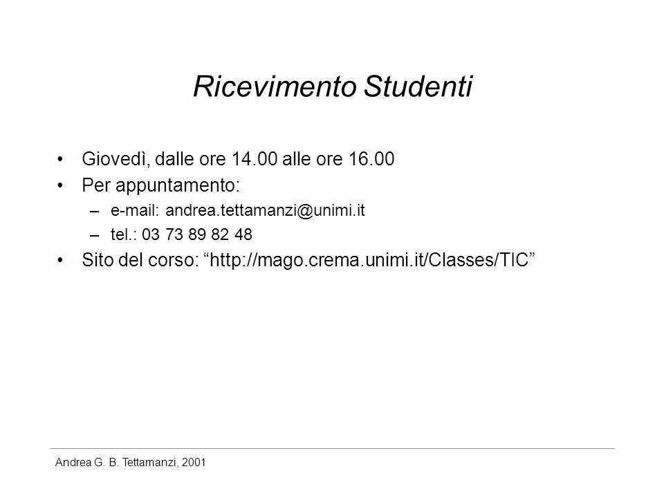 Ricevimento Studenti Giovedì, dalle ore 14.00 alle ore 16.00