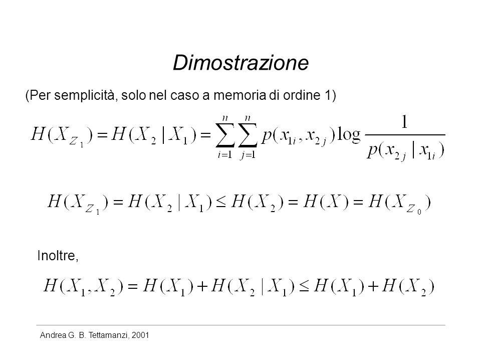 Dimostrazione (Per semplicità, solo nel caso a memoria di ordine 1)
