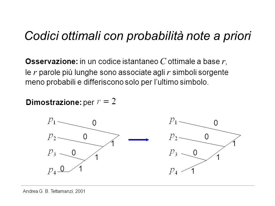 Codici ottimali con probabilità note a priori