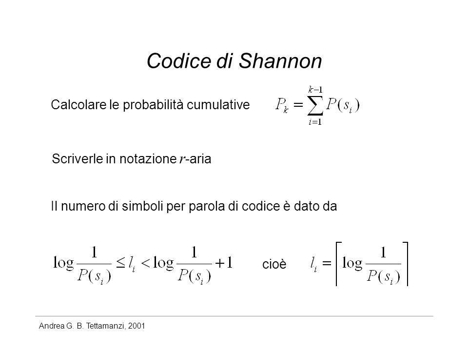 Codice di Shannon Calcolare le probabilità cumulative