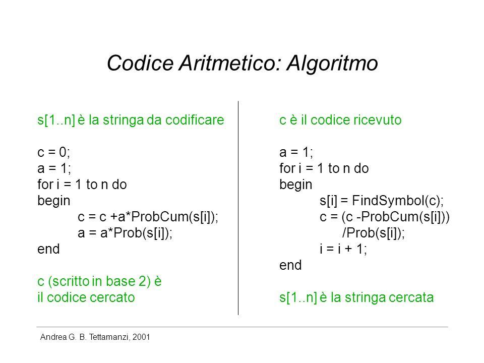 Codice Aritmetico: Algoritmo