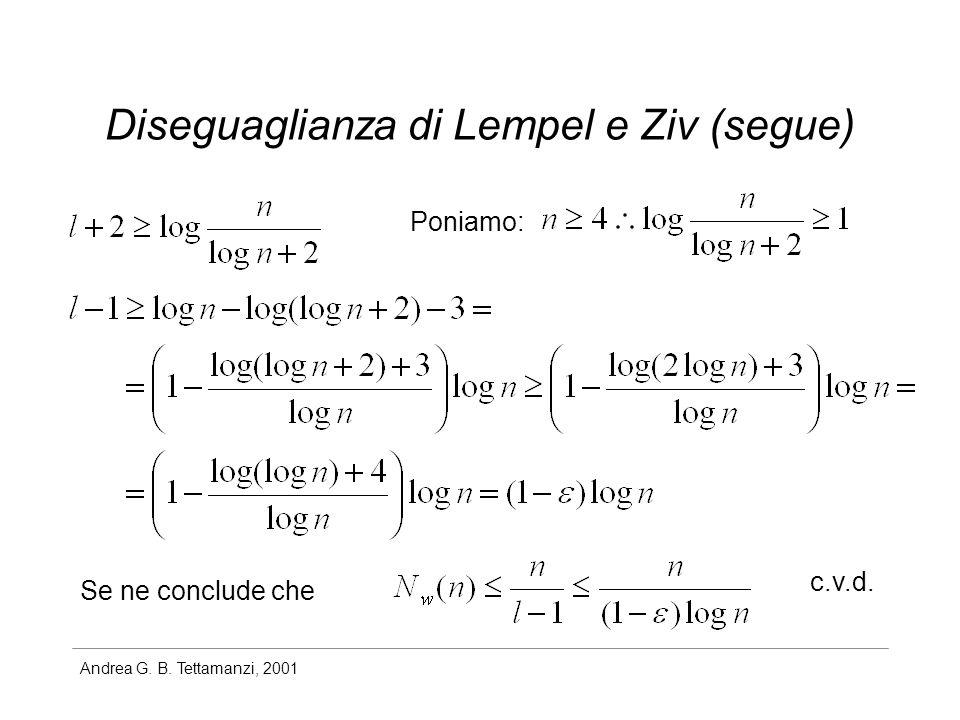 Diseguaglianza di Lempel e Ziv (segue)
