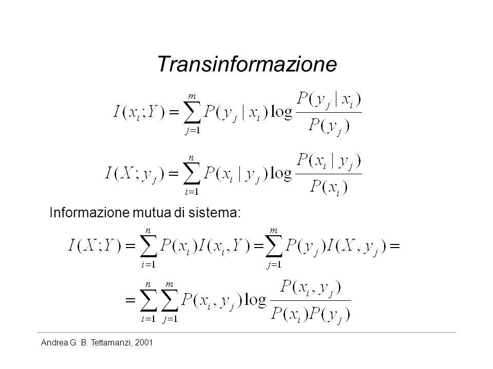 Transinformazione Informazione mutua di sistema: