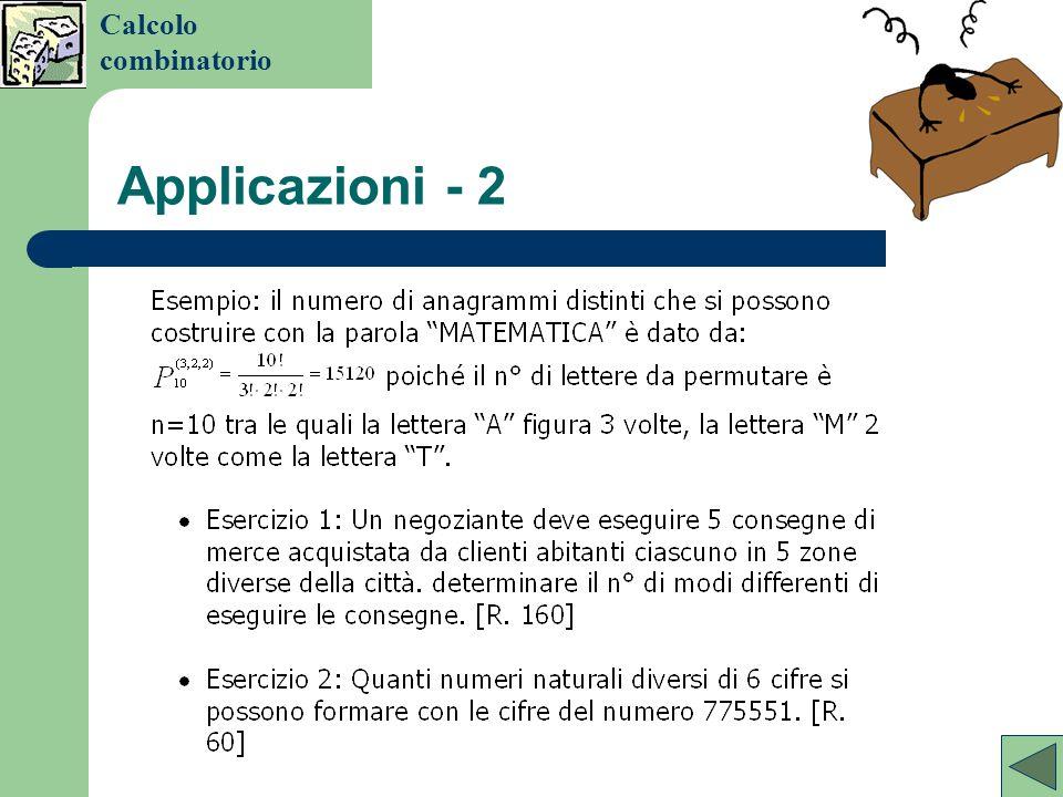 Calcolo combinatorio Applicazioni - 2