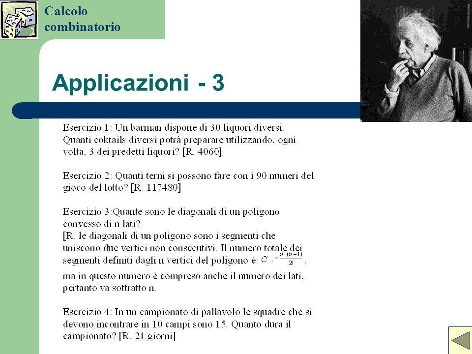 Calcolo combinatorio Applicazioni - 3