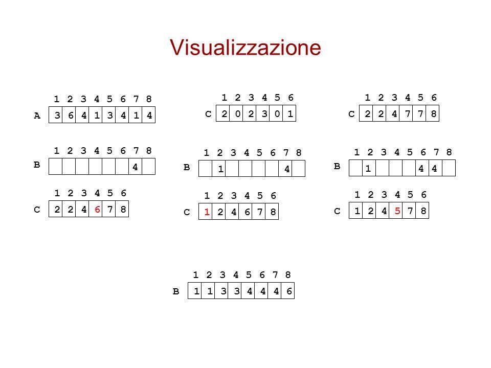 Visualizzazione 1 2 3 4 5 6 7 8. 1 2 3 4 5 6. 1 2 3 4 5 6. A. 3 6 4 1 3 4 1 4. C. 2 0 2 3 0 1.