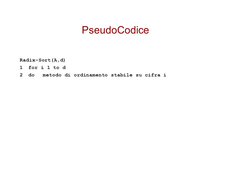 PseudoCodice Radix-Sort(A,d) 1 for i 1 to d