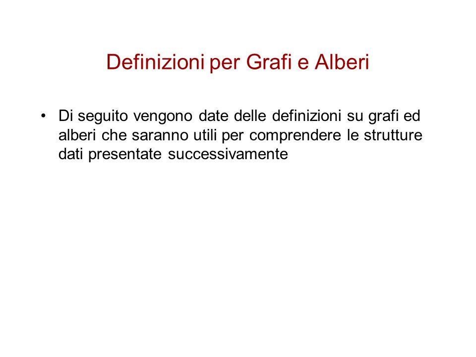 Definizioni per Grafi e Alberi
