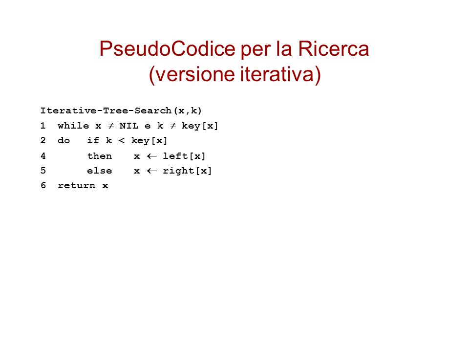 PseudoCodice per la Ricerca (versione iterativa)
