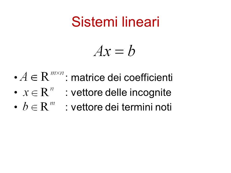 Sistemi lineari : matrice dei coefficienti : vettore delle incognite