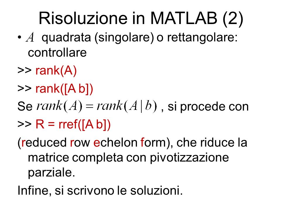 Risoluzione in MATLAB (2)