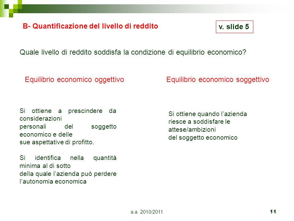 B- Quantificazione del livello di reddito v. slide 5