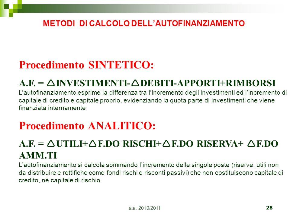 METODI DI CALCOLO DELL'AUTOFINANZIAMENTO