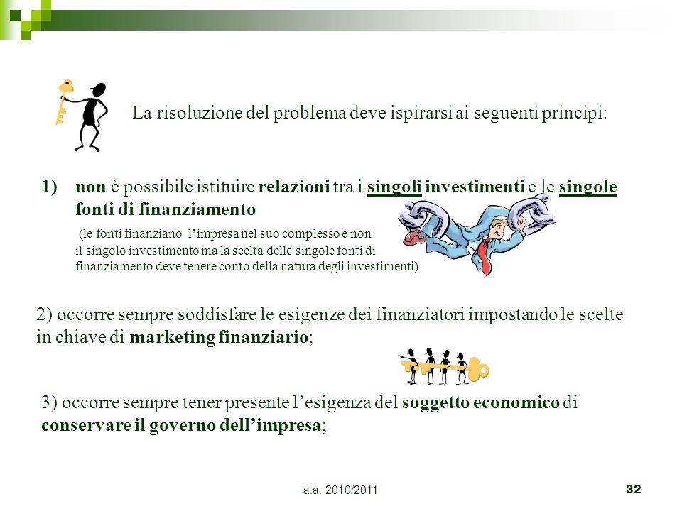 La risoluzione del problema deve ispirarsi ai seguenti principi: