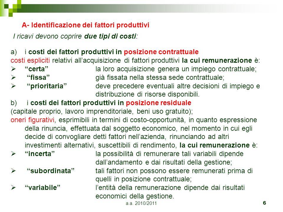 A- Identificazione dei fattori produttivi