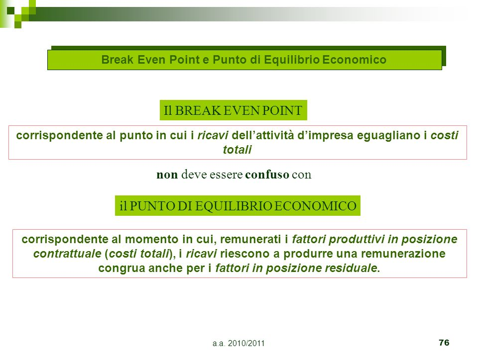 Break Even Point e Punto di Equilibrio Economico