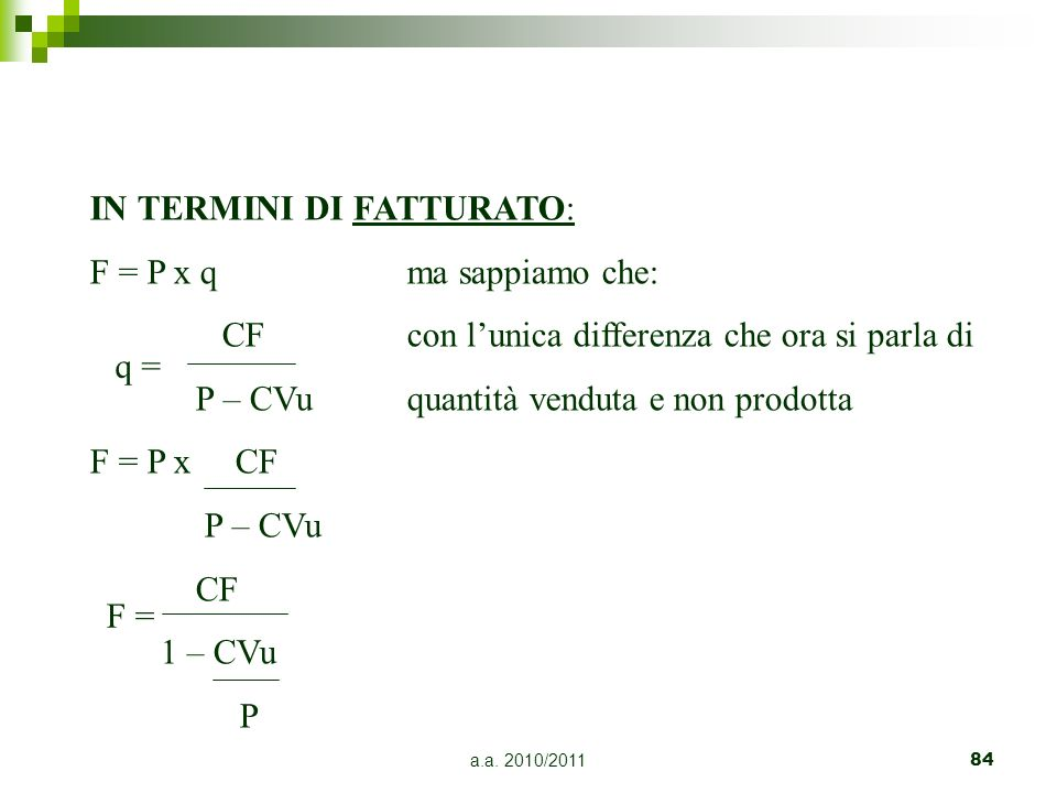 IN TERMINI DI FATTURATO: F = P x q ma sappiamo che: