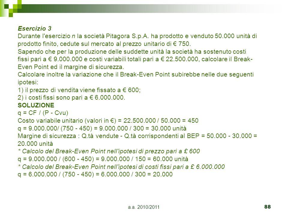 1) il prezzo di vendita viene fissato a € 600;