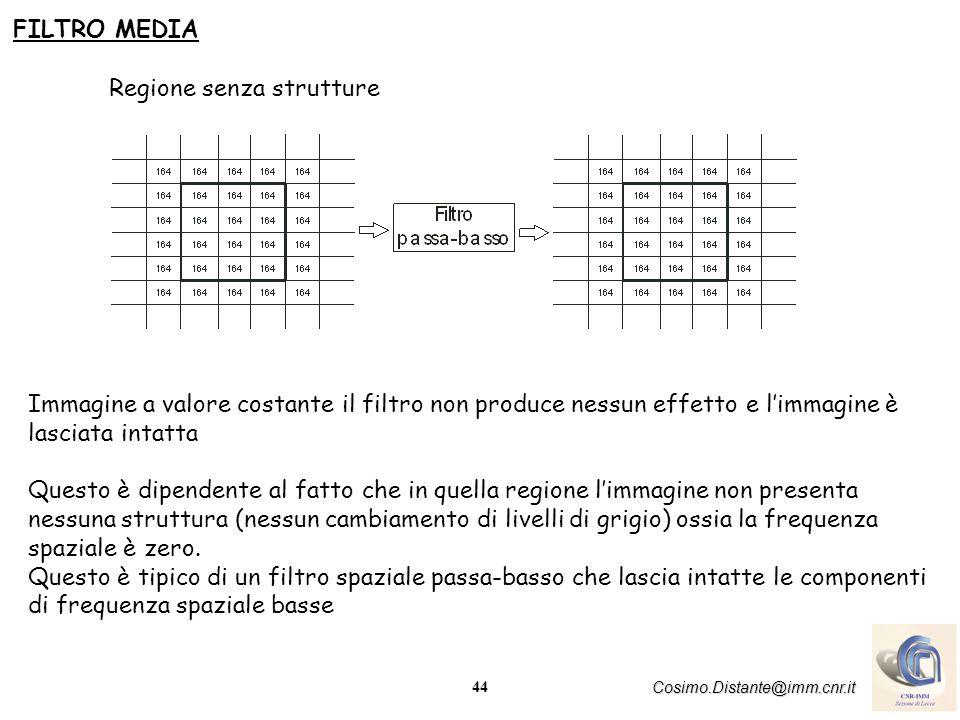 FILTRO MEDIA Regione senza strutture. Immagine a valore costante il filtro non produce nessun effetto e l'immagine è lasciata intatta.