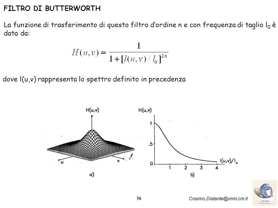 FILTRO DI BUTTERWORTH La funzione di trasferimento di questo filtro d'ordine n e con frequenza di taglio l0 è data da: