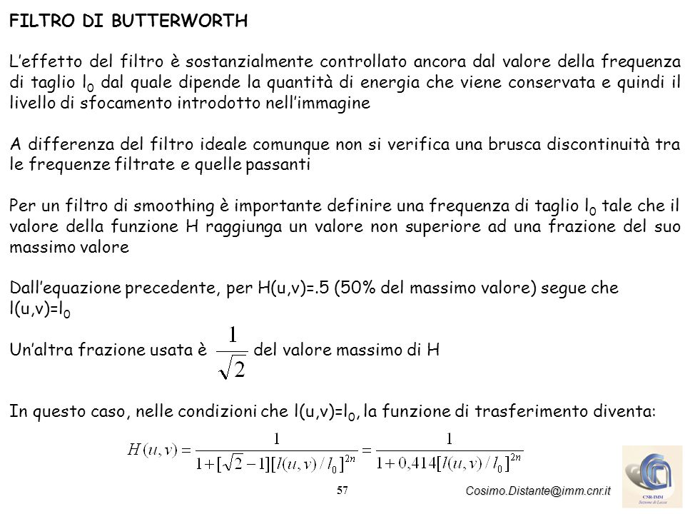 FILTRO DI BUTTERWORTH