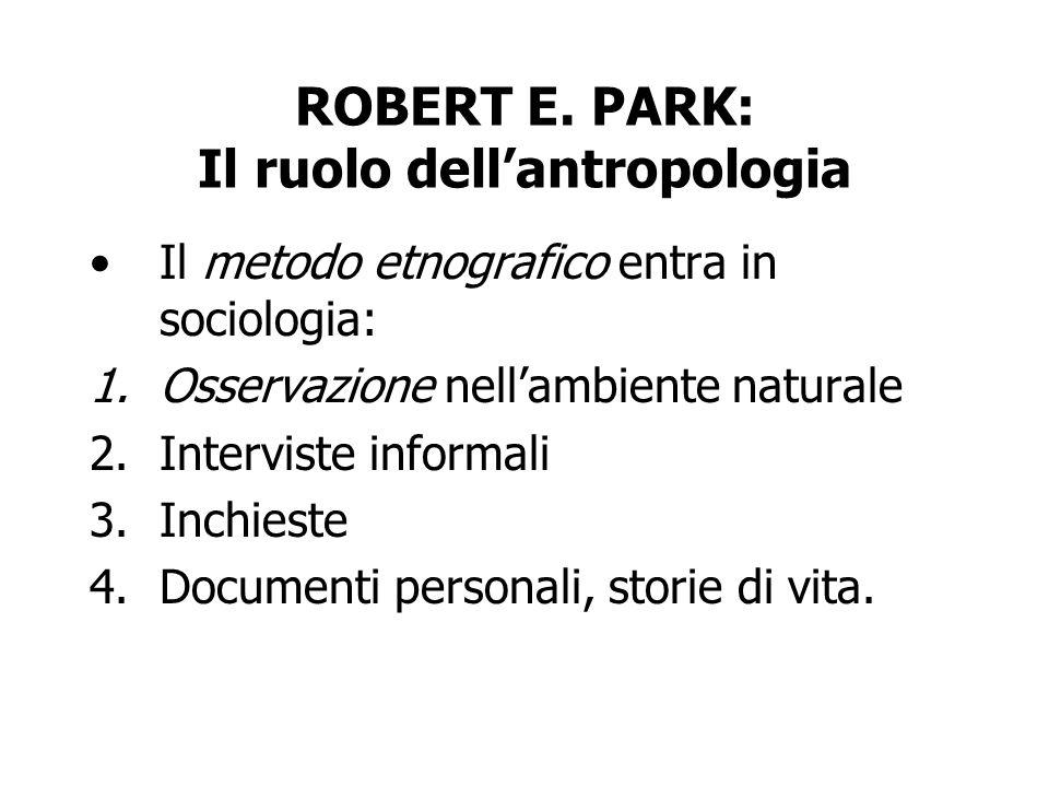 ROBERT E. PARK: Il ruolo dell'antropologia
