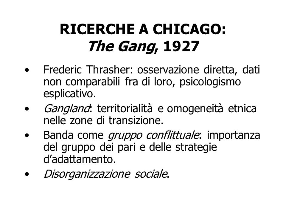 RICERCHE A CHICAGO: The Gang, 1927