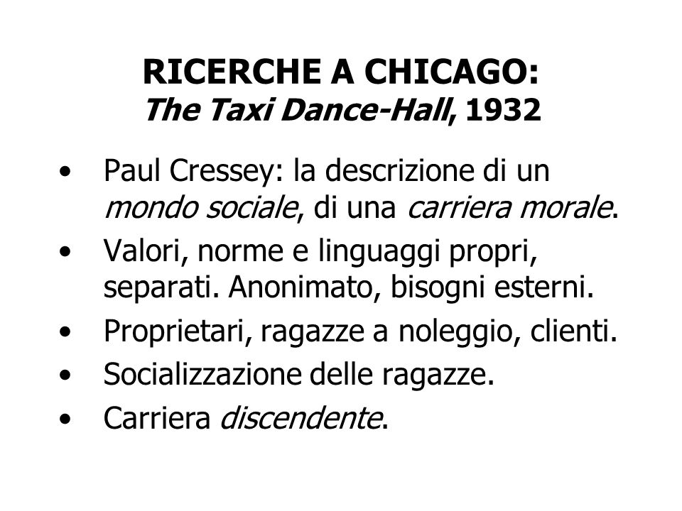 RICERCHE A CHICAGO: The Taxi Dance-Hall, 1932