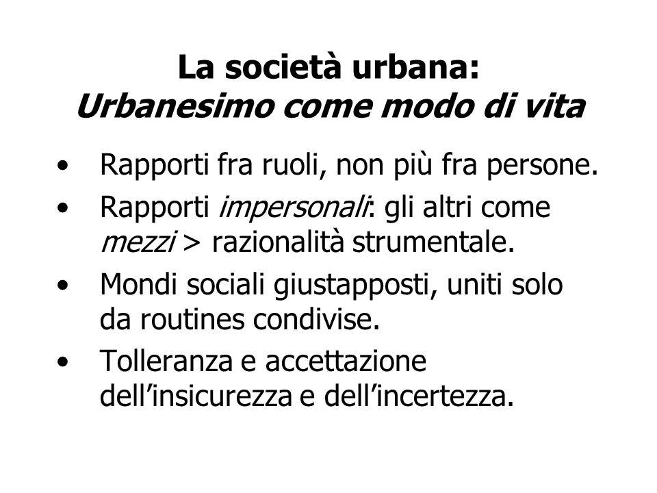 La società urbana: Urbanesimo come modo di vita