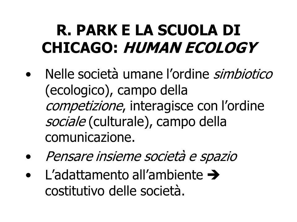 R. PARK E LA SCUOLA DI CHICAGO: HUMAN ECOLOGY