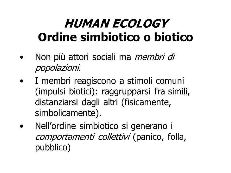 HUMAN ECOLOGY Ordine simbiotico o biotico
