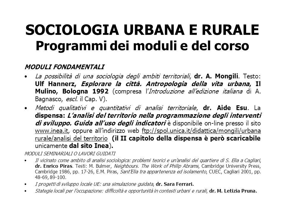 SOCIOLOGIA URBANA E RURALE Programmi dei moduli e del corso