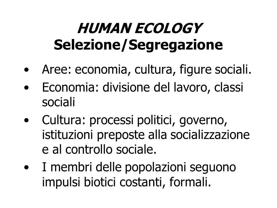 HUMAN ECOLOGY Selezione/Segregazione