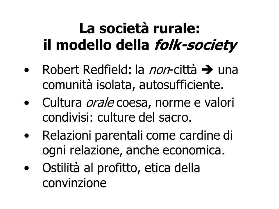 La società rurale: il modello della folk-society