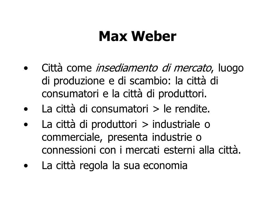 Max Weber Città come insediamento di mercato, luogo di produzione e di scambio: la città di consumatori e la città di produttori.