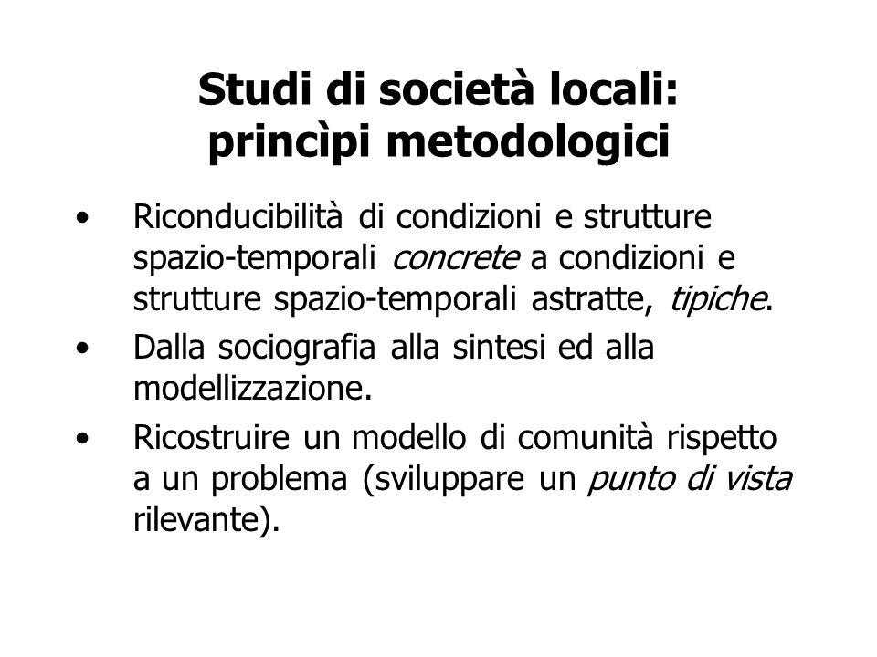 Studi di società locali: princìpi metodologici