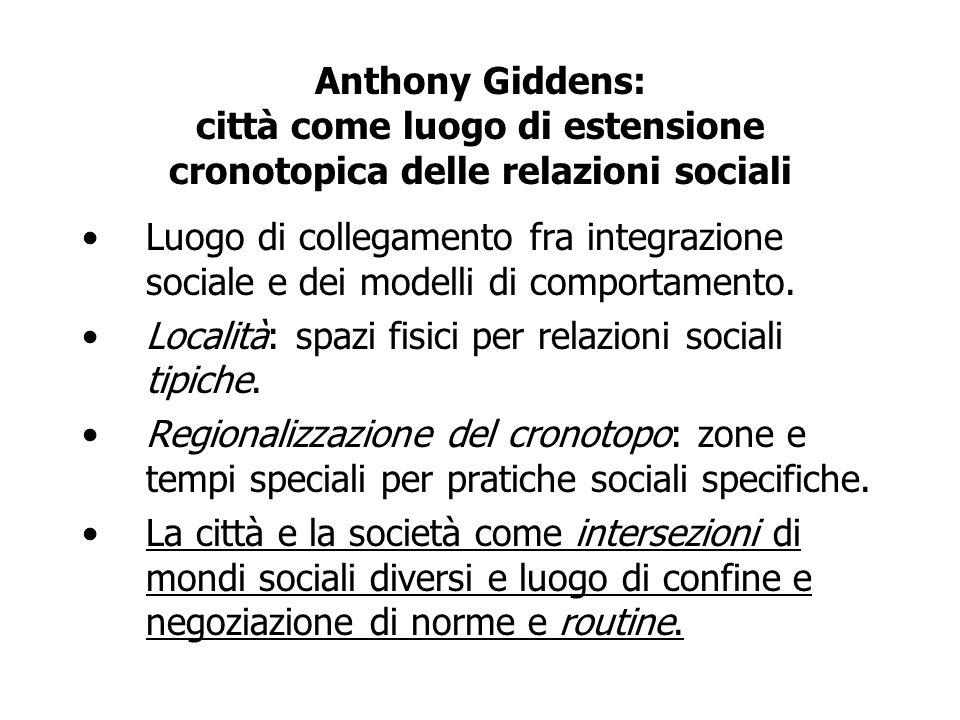 Anthony Giddens: città come luogo di estensione cronotopica delle relazioni sociali