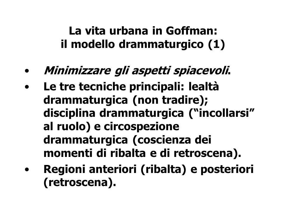La vita urbana in Goffman: il modello drammaturgico (1)