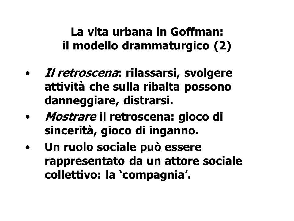 La vita urbana in Goffman: il modello drammaturgico (2)