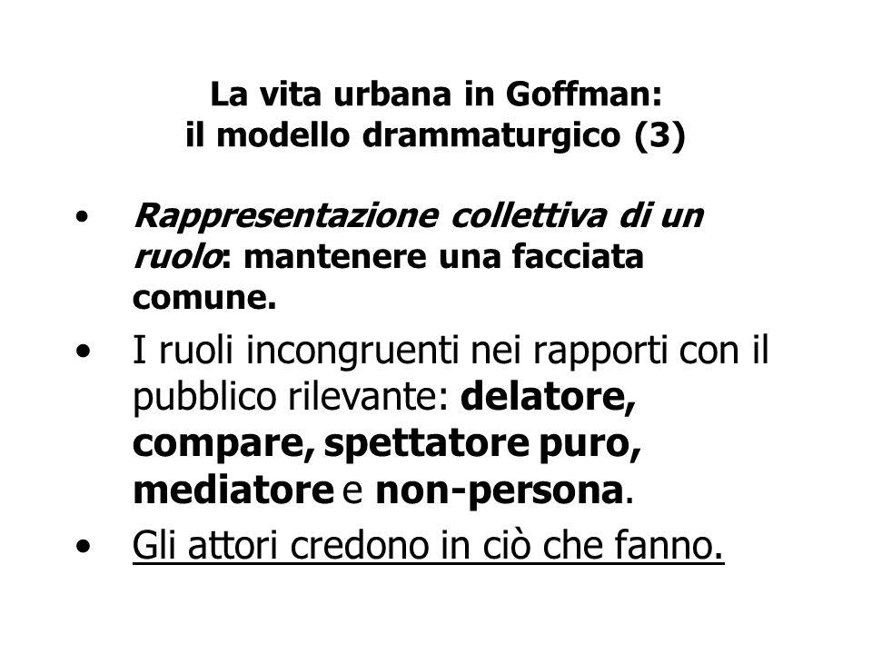 La vita urbana in Goffman: il modello drammaturgico (3)