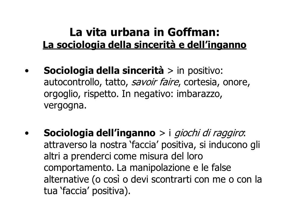 La vita urbana in Goffman: La sociologia della sincerità e dell'inganno