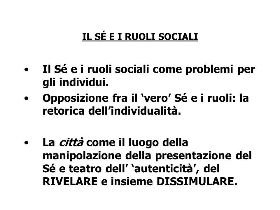 Il Sé e i ruoli sociali come problemi per gli individui.