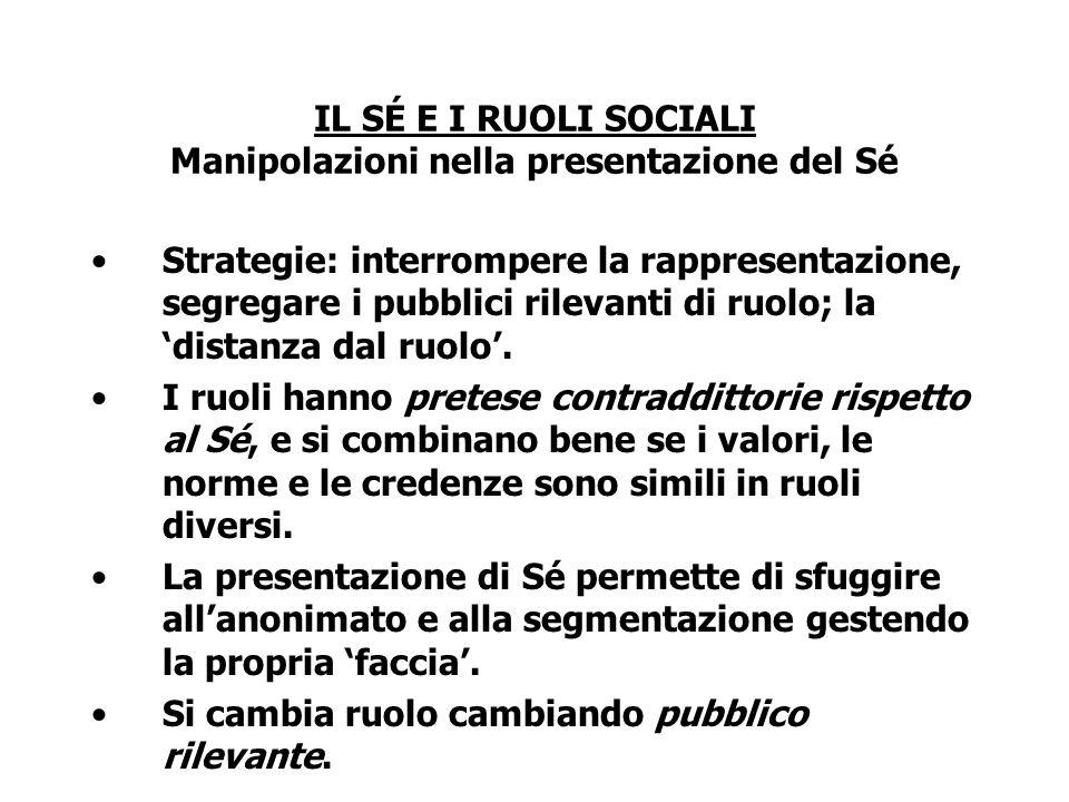 IL SÉ E I RUOLI SOCIALI Manipolazioni nella presentazione del Sé