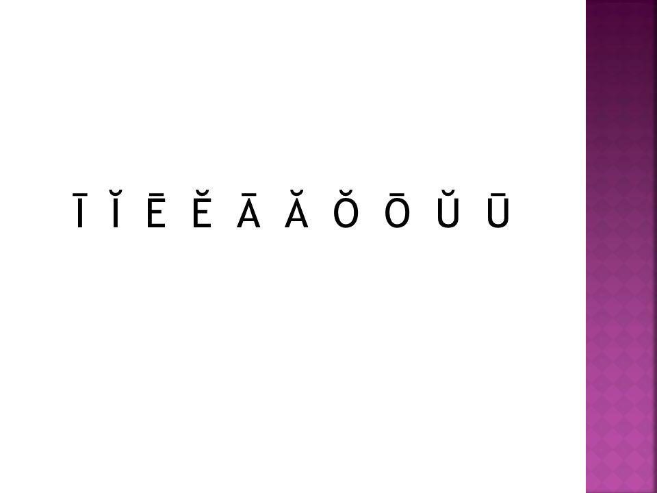 Ī Ĭ Ē Ĕ Ā Ă Ŏ Ō Ŭ Ū