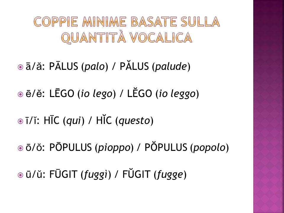 Coppie minime basate sulla quantità vocalica